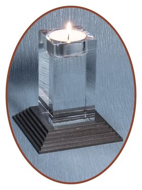 JB Memorials Mini Crystal Glass Mini Urn with Candle Holder - HM275