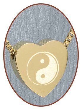 Stainless Steel 'Yin-Yang' Heart Cremation Pendant Gold Plated - G304G