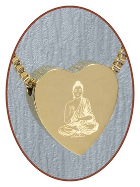 Stainless Steel 'Buddha' Heart Cremation Pendant Gold Plated - G304H