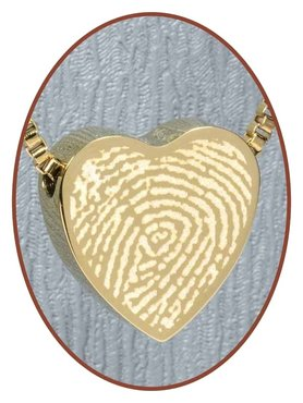 Stainless Steel 'Fingerprint' Heart Cremation Pendant Gold Plated - G304X