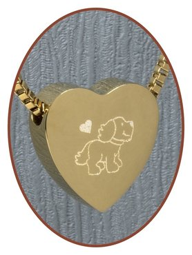Stainless Steel 'Dog' Heart Cremation Pendant Gold Plated - G304X16