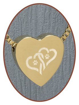 Stainless Steel 'Hearts/Paw' Heart Cremation Pendant Gold Plated - G304X2