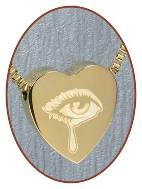 Stainless Steel 'Tear' Heart Cremation Pendant Gold Plated - G304K