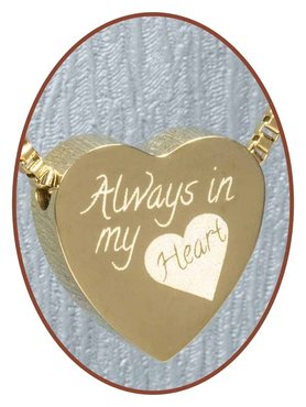 Stainless Steel 'Always in my heart' Heart Cremation Pendant Gold Plated - G304L
