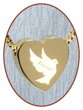 Stainless Steel 'Dove-Forever' Heart Cremation Pendant Gold Plated - G304M