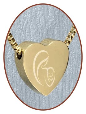 Stainless Steel 'Mother and Child' Heart Cremation Pendant Gold Plated - G304MK