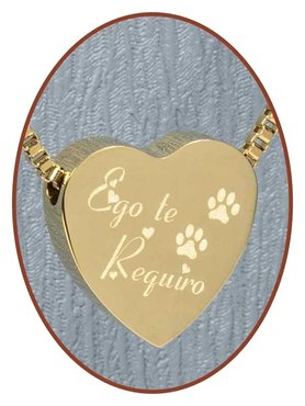 Stainless Steel 'Ego Te Requiro' Heart Pet Cremation Pendant Gold Plated - G304PD