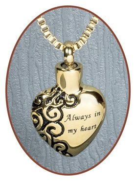 Stainless Steel 'Heart' Cremation Pendant Gold Plated - B026G