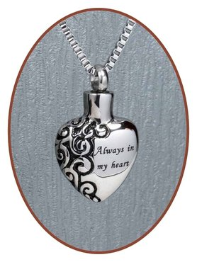 Stainless Steel Cremation Pendant 'Always in my heart' - B026