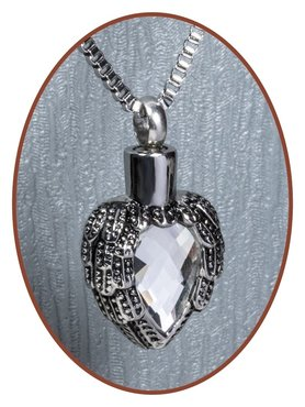 Stainless Steel Cremation Pendant 'Angelwing' - B141A