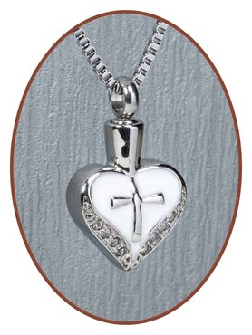 Stainless Steel Heart 'Cross' Cremation Pendant - B129