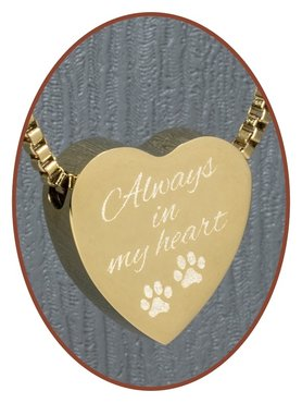 Stainless Steel 'Always in my heart' Heart Cremation Pendant Gold Plated - G304AD