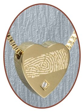 Stainless Steel 'Fingerprint' Heart Cremation Pendant Gold Plated - G304CZ-3