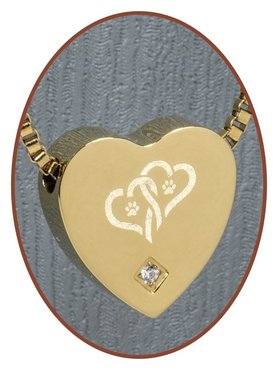Stainless Steel 'Hearts/Paw' Pet Heart Cremation Pendant Gold Plated - G304CZ-X2