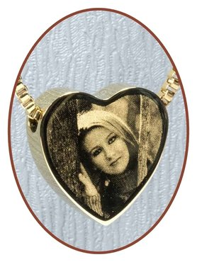 Stainless Steel 'Picture' Heart Cremation Pendant Gold Plated - G304F