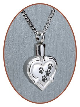 Stainless Steel 'Heart/Paw' Cremation Pendant - D034