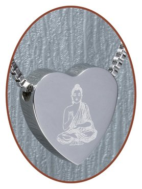 Stainless Steel 'Buddha' Heart Cremation Pendant - B304H