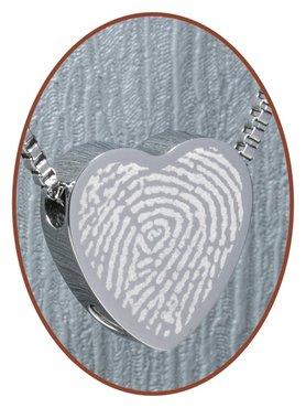 Stainless Steel 'Fingerprint' Heart Cremation Pendant - B304X