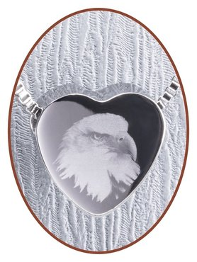 Stainless Steel 'Eagle' Heart Cremation Pendant - B304EAG