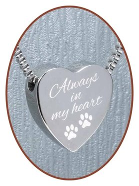 Stainless Steel 'Always in my heart' Pet Cremation Pendant - B304AD