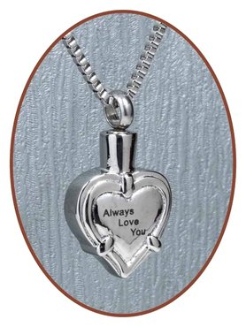 Stainless Steel Cremation Pendant 'Always Love You' - B234