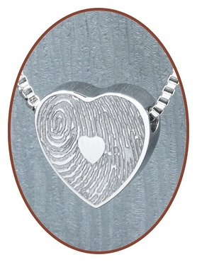 Stainless Steel Exclusive 'Fingerprint' Heart Cremation Pendant - B304VI