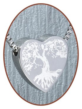Stainless Steel 'Tree of Life' Heart Cremation Pendant - B304Q