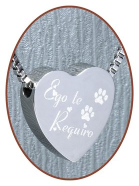 Stainless Steel 'Ego te requiro' Heart Cremation Pendant - B304PD