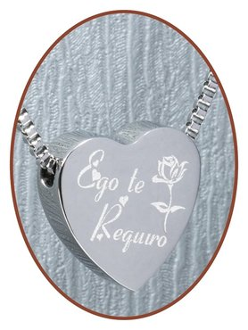 Stainless Steel ''Ego Te Requiro'' Heart Cremation Pendant - B304P
