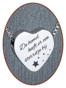 Stainless Steel Engravable Heart Cremation Pendant 'New Star' - B304L1