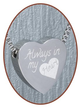Stainless Steel 'Always in my heart' Heart Cremation Pendant - B304L