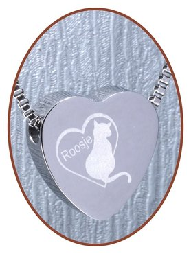 Stainless Steel 'Name' Cat Heart Cremation Pendant - B304I