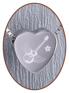 Stainless Steel 'Guitar' Heart Cremation Pendant - B304GUI