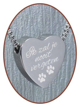 Stainless Steel 'I will never forget you - Paw Prints' Heart Cremation Pendant - B304D