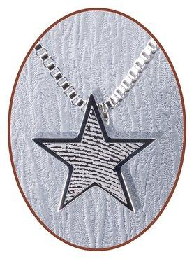 Stainless Steel 'Star' Fingerprint Cremation Pendant - B359V