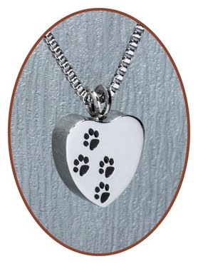 Stainless Steel 'Heart/Paw' Cremation Pendant - D041