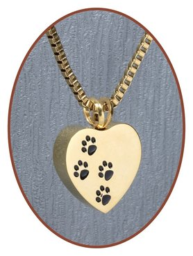 Stainless Steel 'Heart/Paw' Cremation Pendant Gold Plated - D041G