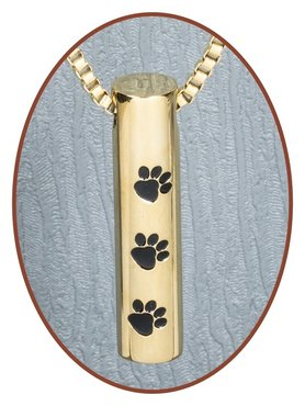 Stainless Steel 'Paw' Cremation Pendant Gold Plated - D003G