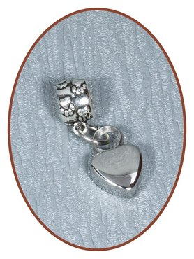 Stainless Steel Cremation Bracelet Charm 'Heart' - D005B