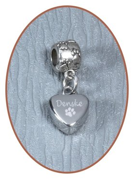 Stainless Steel Cremation Bracelet Charm 'Heart' - D005C