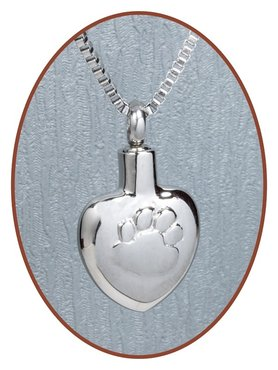 Stainless Steel 'Heart/Paw' Cremation Pendant - D013