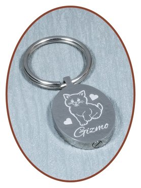 Stainless Steel Remembrance Cremation Key-ring Oval - B387