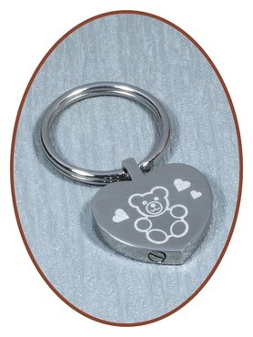 Stainless Steel Remembrance Cremation Key-ring Heart - B386