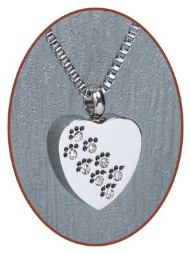 Stainless Steel 'Heart/Paw' Cremation Pendant - D001