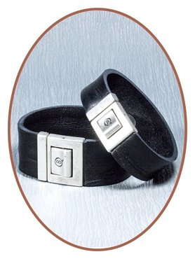 QúeB Memorials Mens Leather Cremation Ash Bracelet - ZA007