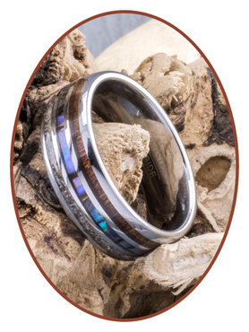 JB Memorials Natureline Wood / Abalone Shell Tungsten Cremation Ash Ring - WR006