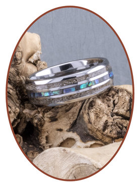 JB Memorials Natureline Abalone Shell Tungsten Duo Cremation Ash Ring - WR007