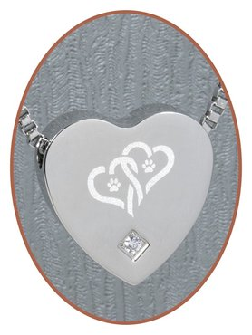 Stainless Steel 'Hearts/Paw' Heart Cremation Pendant - B304CZ-X2