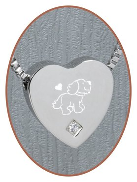 Stainless Steel 'Dog' Heart Cremation Pendant - B304CZ-X16