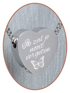 Stainless Steel 'I will never forget you' Heart Cremation Pendant - B304V